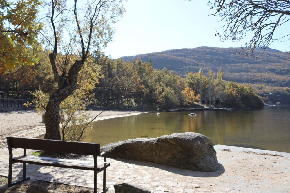 Lago de Sanabria beach, bench and rock